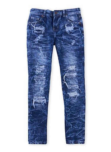 Boys 8-18 Distressed Skinny Jeans in Acid Wash,DENIM,large
