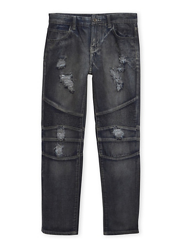Boys 8-18 Distressed Moto Jeans,DENIM,large