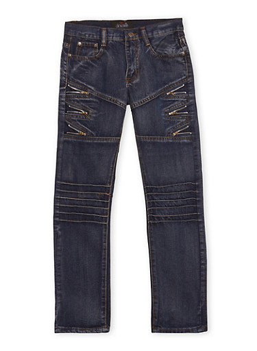 Boys 8-18 Moto Jeans with Zipper Accents,DRK BLUE,large