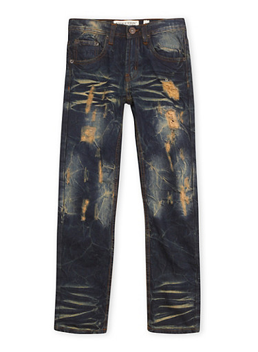 Boys 8-20 Vintage Wash Jeans with Ripped Details,DARK WASH,large