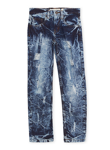 Boys 8-20 Acid Wash Jeans with Ripped Details,BLUE,large