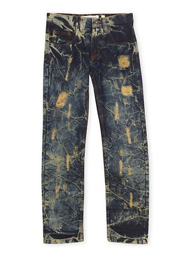 Boys 8-20 Ripped Jeans in Vintage Acid Wash,DARK WASH,large