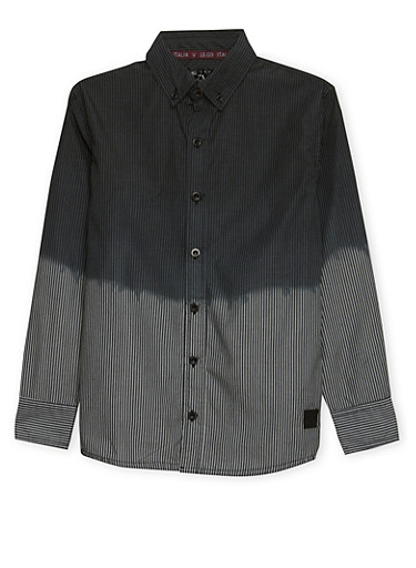 Boys 8-18 Ombre Shirt in Stripes,GREY,large