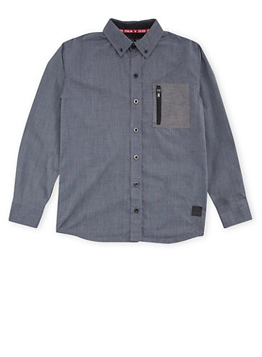 Boys 8-18 Button Up Shirt with Zipper Pocket,GREY,large
