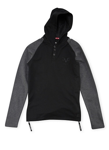 Boys 8-18 Hooded Half Button Top with Zipper Sides,BLACK,large