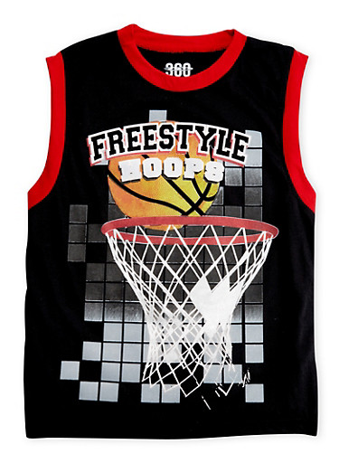 Boys 8-16 Athletic Tank Top with Basketball Graphic,BLACK,large