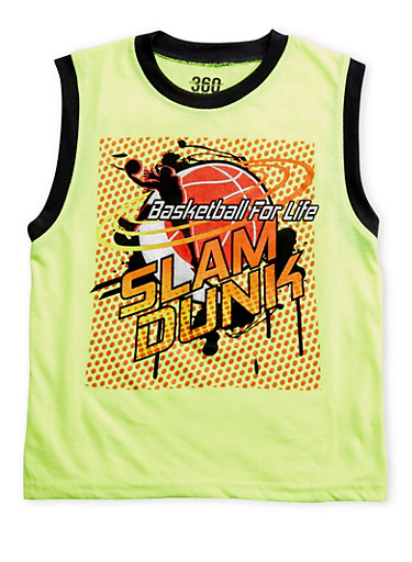 Boys 8-16 Athletic Tank Top with Basketball for Life Graphic,LIME,large