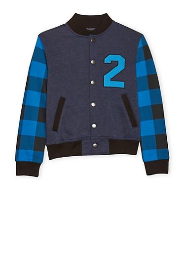 Boys 8-16 French Toast Varsity Jacket with Plaid Sleeves,NAVY,large