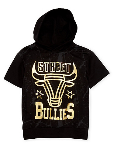 Boys 8-20 Hooded Tee with Street Bullies Graphic,BLACK,large