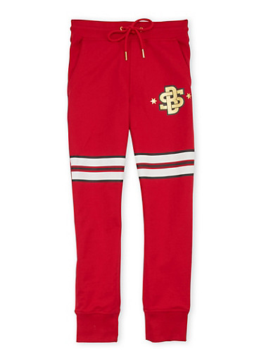 Boys 8-20 Striped Drawstring Joggers with Foil Graphic,RED,large