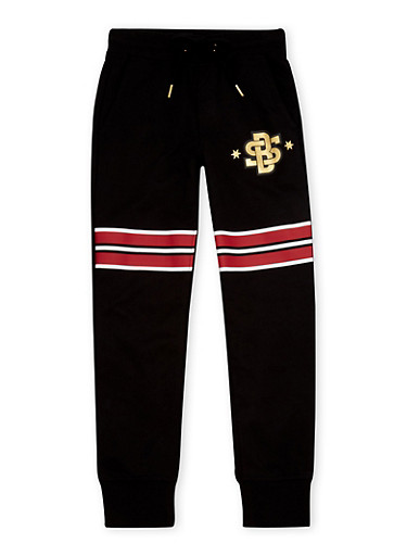 Boys 8-20 Striped Joggers with SB Graphic,BLACK,large