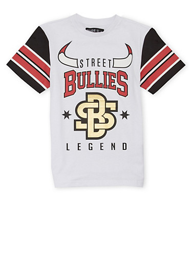 Boys 8-20 Striped Sleeve T Shirt with Street Bullies Graphic,WHITE,large
