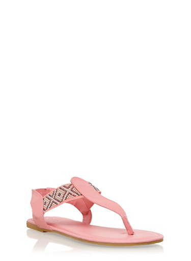 Girls 11-4 Aztec Beaded Thong Sandals,CORAL,large