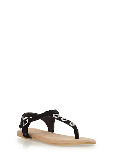 Girls Grommet T-Strap Sandals with Buckle,BLACK,large