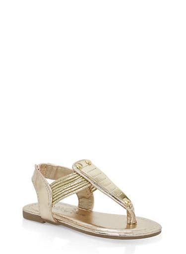 Girls 5-10 Metallic Detail Thong Sandals,GOLD,large