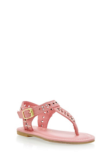 Toddler Girls Embellished Star Cutout T Strap Sandals with Buckle,CORAL,large