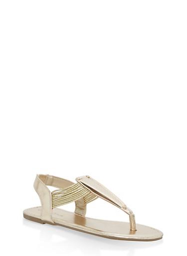 Girls 11-4 Metallic Elastic T Strap Sandals,GOLD,large
