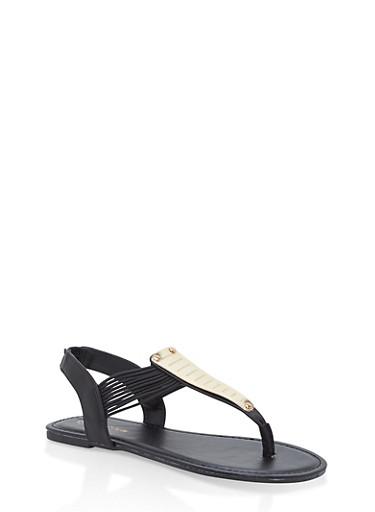 Girls 11-4 Metallic Elastic T Strap Sandals,BLACK,large