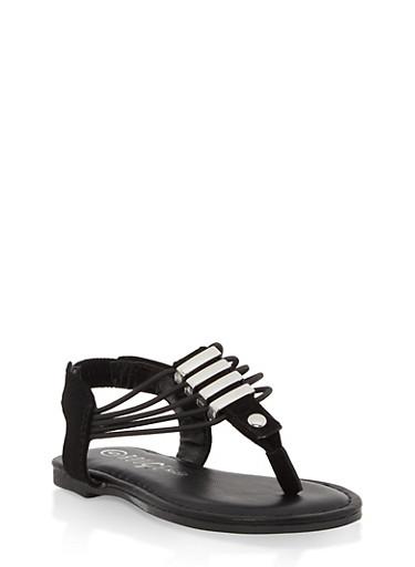 Girls 5-10 Metallic Detail Thong Sandals,BLACK,large