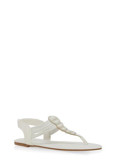 Girls 11-4 Rhinestone Elastic Strap Thong Sandals,WHITE,large