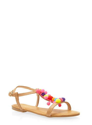 Girls 11-4 Faux Leather T Strap Sandals with Pom Poms,TAN MULTI,large