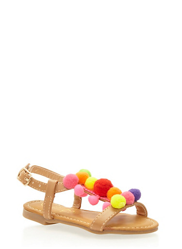 Girls 5-10 Faux Leather Sandals with Pom Pom Accent,TAN,large