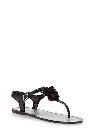 Girls 11-3 Black Jelly Thong Sandals with Flower Detail,BLACK,large