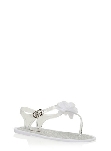Girls 11-3 T Strap Jelly Sandals with Flower Detail,WHITE,large