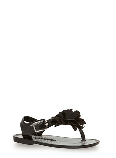 Girls 5-10 Black Jelly Thong Sandals with Flower Accent,BLACK,large