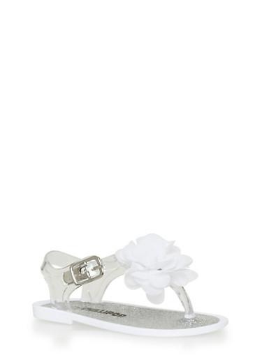 Girls 5-10 White Flower Thong Jelly Sandals,WHITE,large
