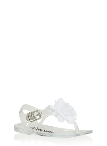 Girls 5-10 Clear Jelly Thong Sandals with Flower Accent,CLEAR,large