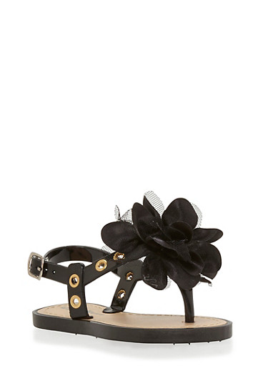Girls 5-10 Black Flower Thong Jelly Sandals with Grommets,BLACK,large