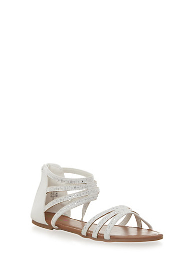 Girls Multi Strap Embellished Sandals,WHITE,large