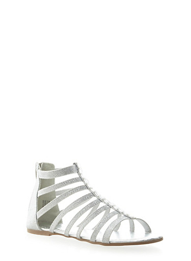 Girls Sparkly Ankle Gladiator Sandals with Rhinestone Bead Accent,SILVER,large