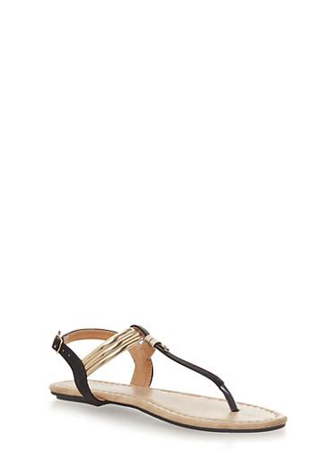 Girls T Strap Thong Sandals with Metallic Trim,BLACK,large