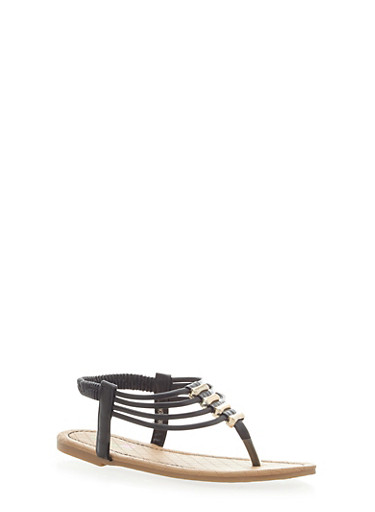 Girls Strappy Sandals with Metallic Beads,BLACK,large