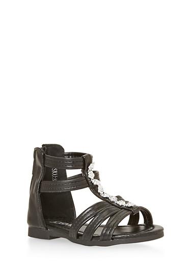 Girls 5-10 Flower Studded Gladiator Sandals,BLACK,large