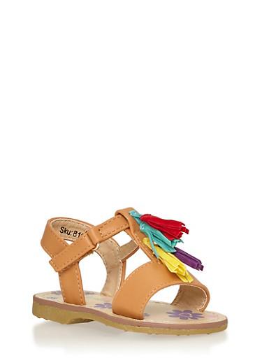 Girls 5-10 Faux Leather Multicolored Tassel Sandals,CHESTNUT,large