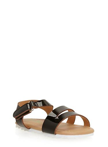 Girls 5-10 Double Strap Sandals,BLACK,large