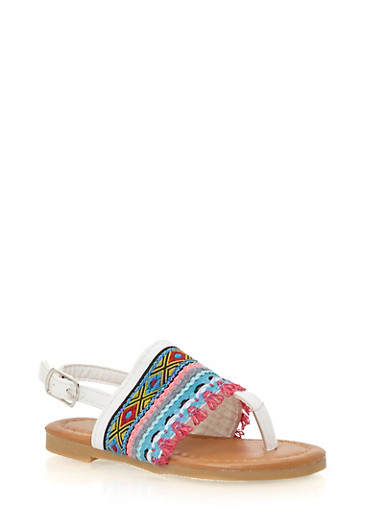 Girls 5-10 Tribal Faux Leather Thong Sandals,WHITE,large