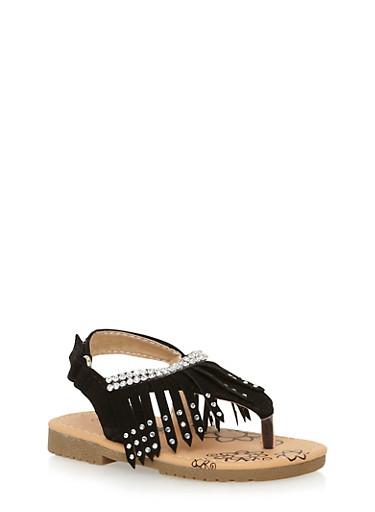 Girls 6-11 Studded Fringe T Strap Sandals,BLACK,large