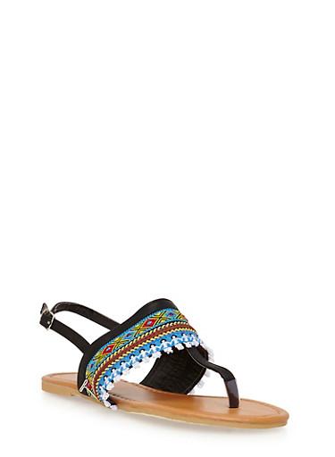 Girls 11-4 Tribal Thong Sandals,BLACK,large