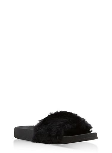 Girls 11-4 Black Faux Fur Slides,BLACK,large