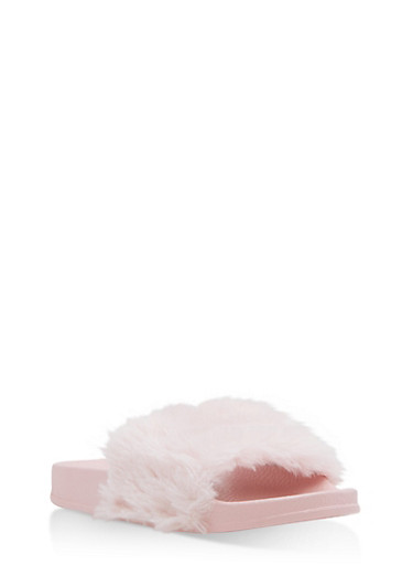 Girls 11-4 Faux Fur Slides,PINK,large