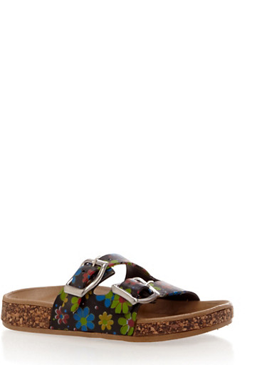 Toddler Girls Printed Footbed Sandals with Buckle Straps,BLACK,large