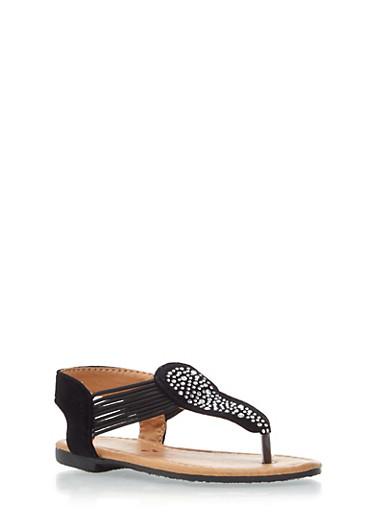 Toddler Girls Faux Suede Rhinestone T Strap Sandals,BLACK,large