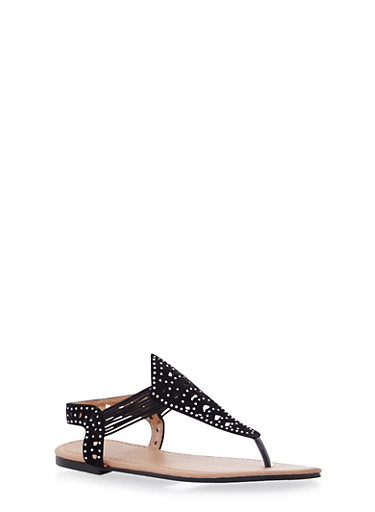 Girls Perforated and Embellished T Strap Cable Sandals,BLACK,large