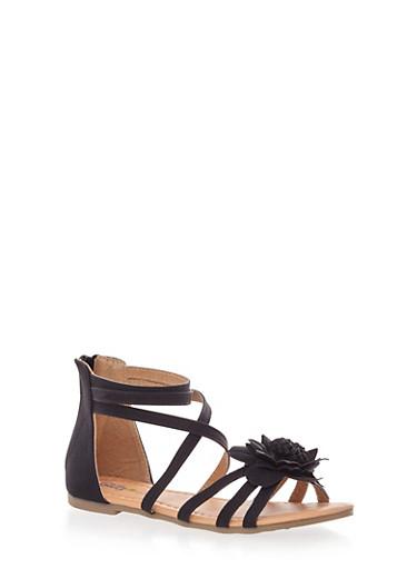 Girls Zip Back Sandals with Tonal Flower Detail,BLACK,large