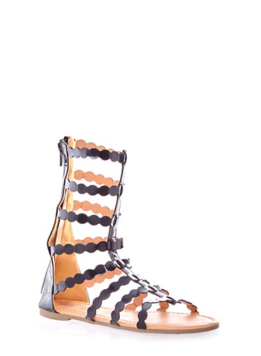 Girls Mid Calf Gladiator Sandals with Scalloped Straps,BLACK,large