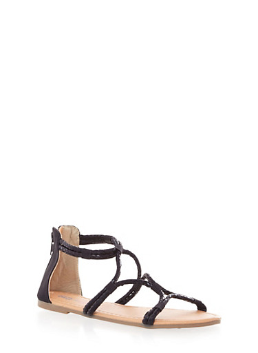 Girls Strappy Criss Cross Sandals with Faux Leather Accents,BLACK,large